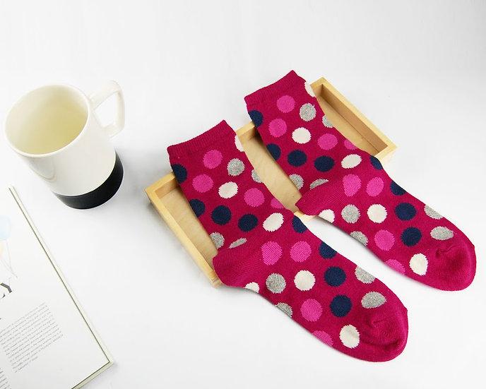 ถุงเท้า Wool Pink x Poka Dot