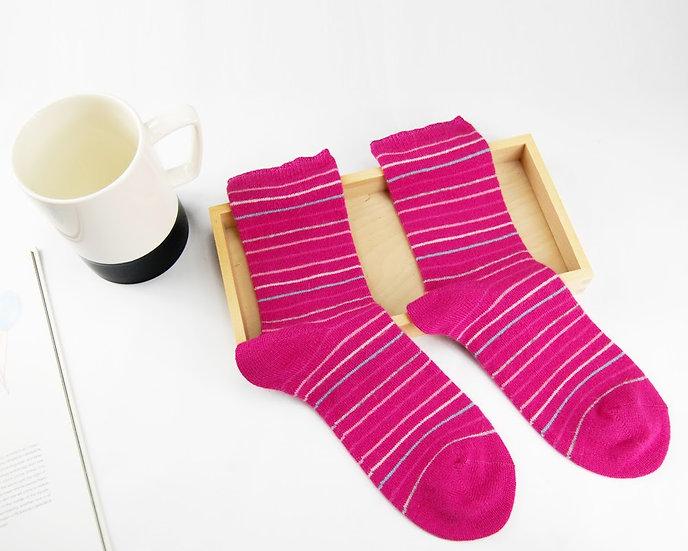 ถุงเท้า Wool Pink x  Mini Stripe