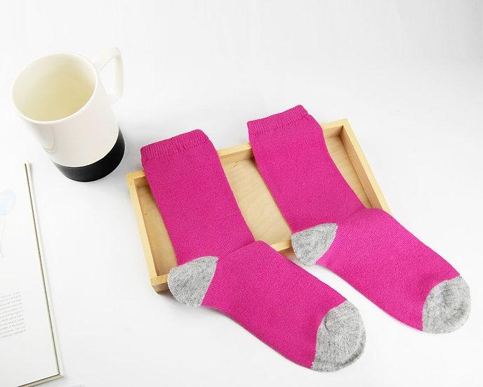 ถุงเท้า Wool สีชมพูอ่อน ส้นเทา