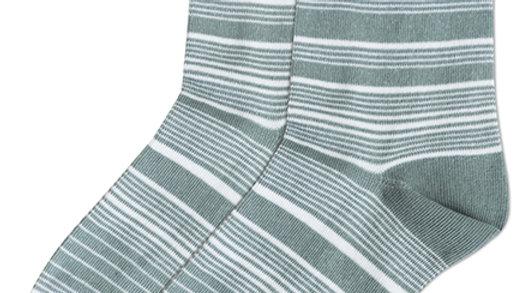 Streaking Stripes Crew Socks - Olive