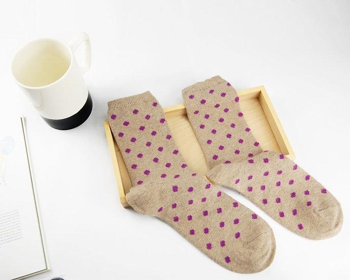ถุงเท้า Wool Cream x  Mini Poka Dot