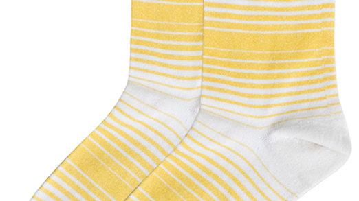 Halftone Stripes Crew Socks - Yellow