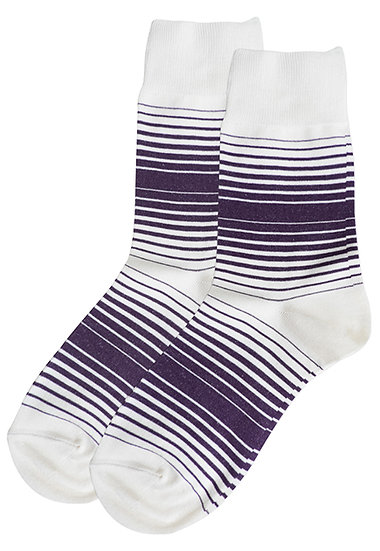 Halftone Stripes Crew Socks - Navy
