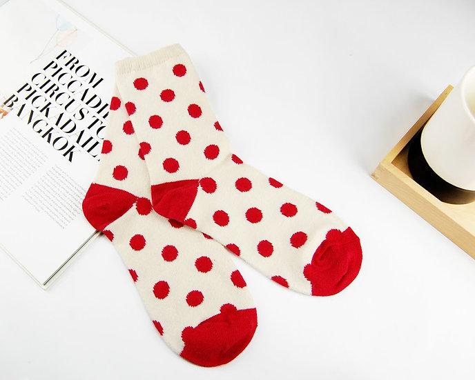 ถุงเท้า Wool Cream x Red Poka Dot