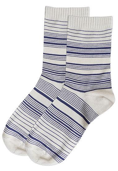 Streaking Stripes Crew Socks - Egg Shell
