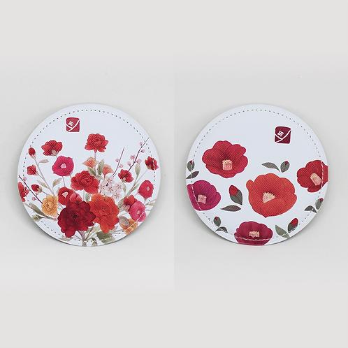 Flower Fabric Pocket Mirror, Folk Asian Painint Style, For Gifts, Cosmetics, Mak