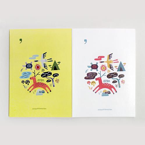Illustrated Longevity Symbols Paper Notebook, 1pcs, Stationery, Orientypes
