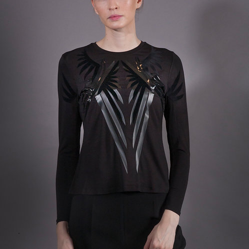 Black Wings Bamboo T Shirt with Long Sleeves