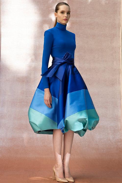 Blue to Teal Stripes Anna Skirt