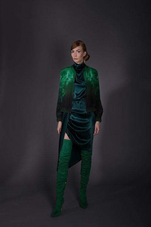 Midnight Green Draped Dress