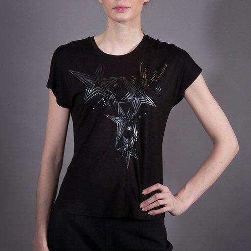 Black Stars T Shirt with Long Shoulder