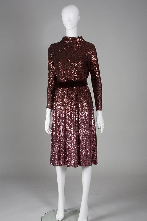 Bronze Metallic Sequin Dress with Wide Belt