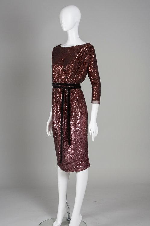 Bronze Metallic Asymmetrical Sequin Dress