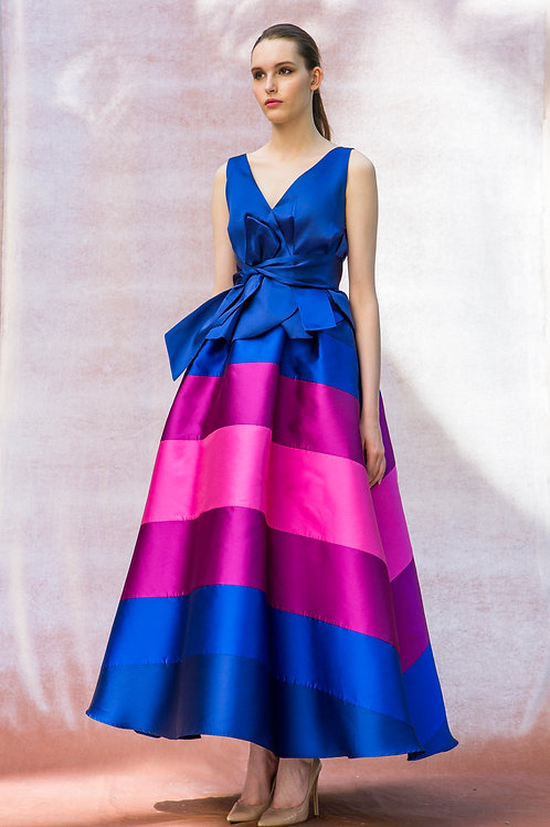 Blue and Pink Stripes Triin Skirt