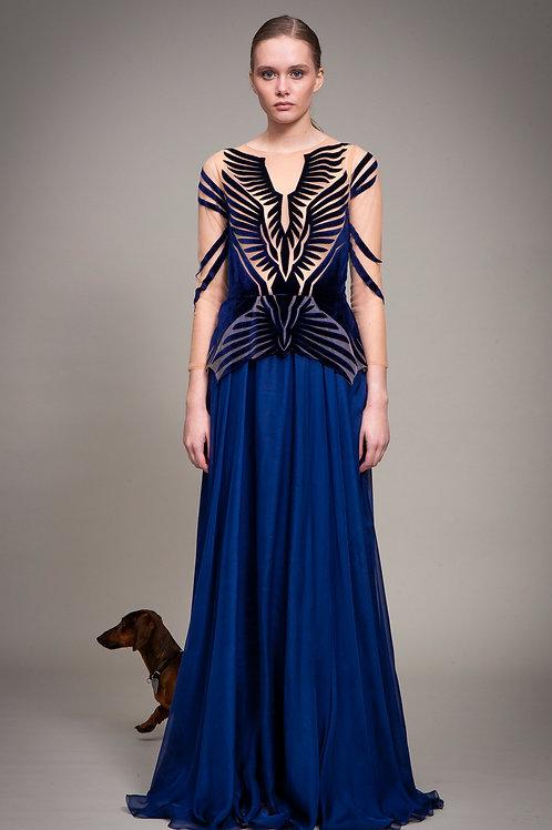 Midnight Bluebird Dress with Sleeves