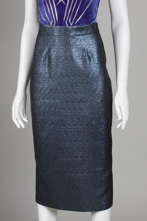 Metallic Anthracite pencil skirt