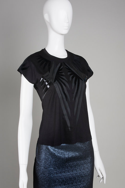Black Wings Bamboo T Shirt with Long Shoulder