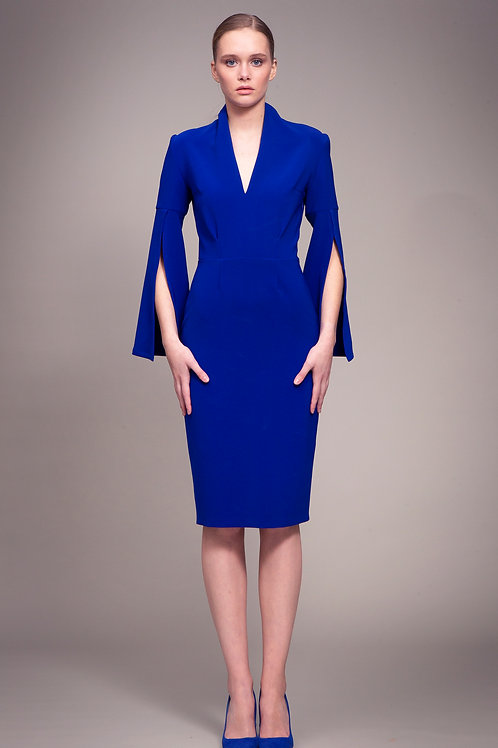 Royal Blue Dress with Slit Sleeves