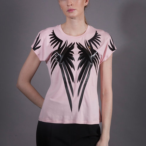 Pink Wings Bamboo T Shirt with Long Shoulder