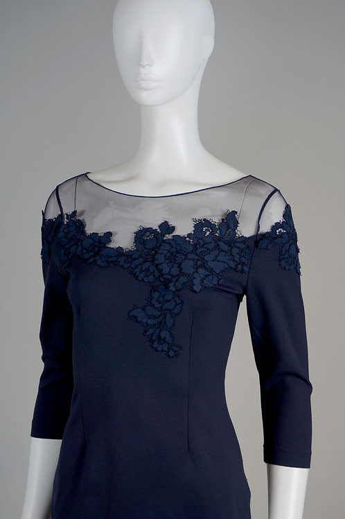 Midnight Carmela Dress with Lace Detail