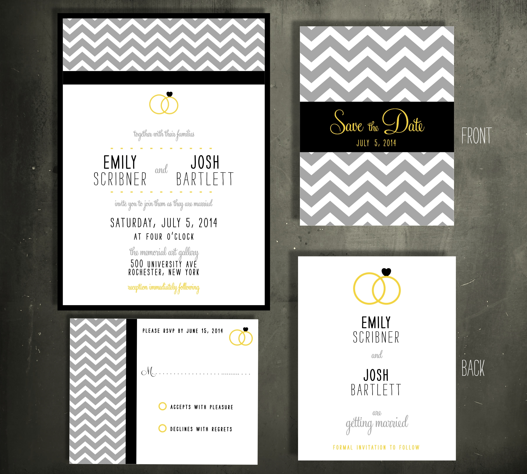 Chevron Rings Invitation