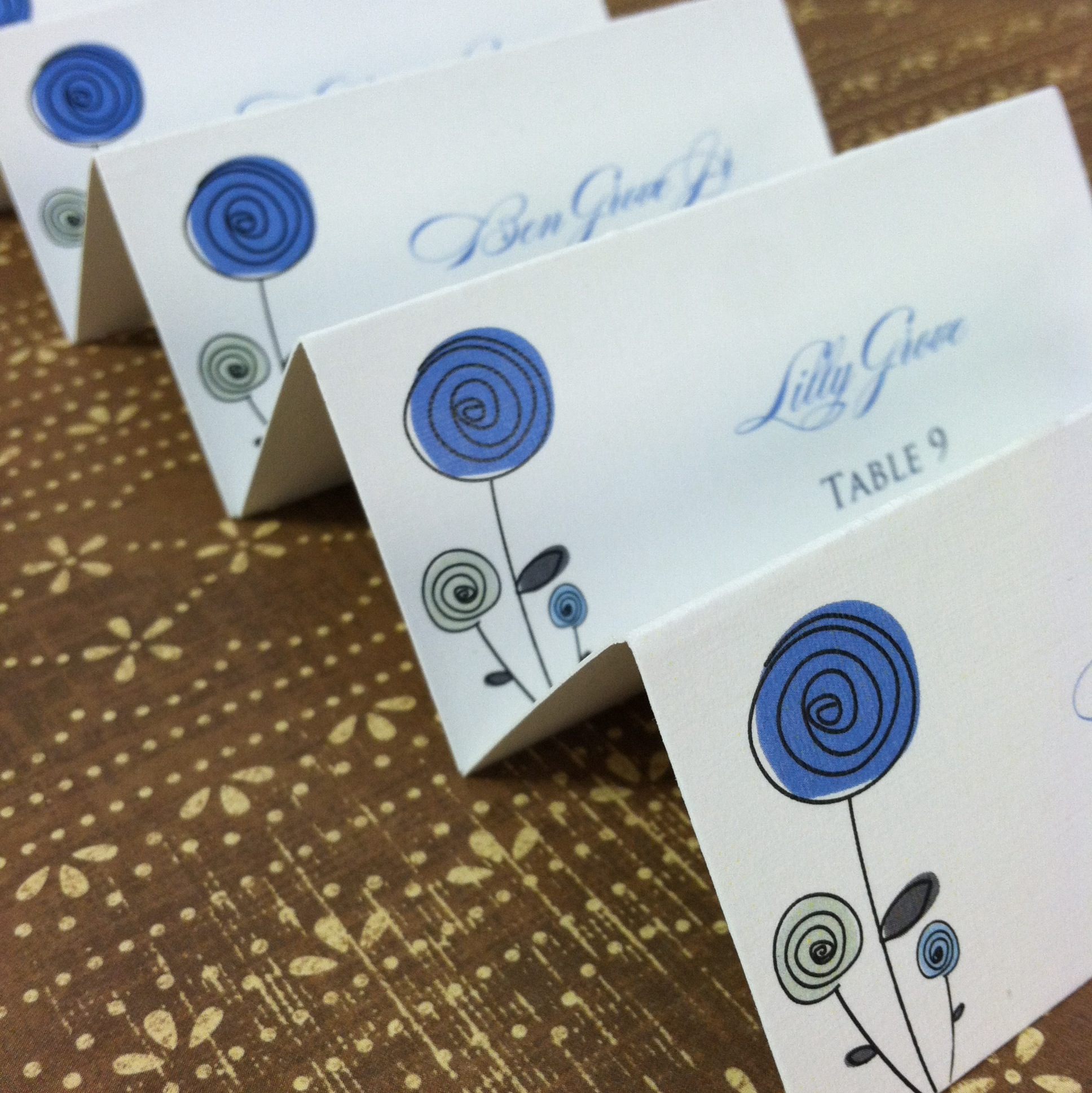 Tented Escort Cards