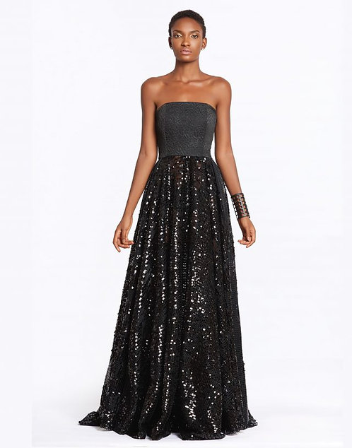 Sequinned black evening gown