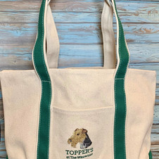Embroidered Canvas Tote with Front Pocket