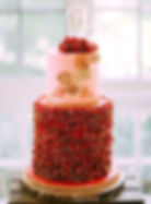 Red Ruffle Steampunk Wedding Cake