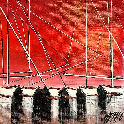 Horizon rouge... | 20x20cm
