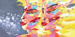 """Les jumelles """"portrait 28""""   60x120x2cm"""