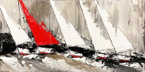 Le voilier rouge... | 60x120cm
