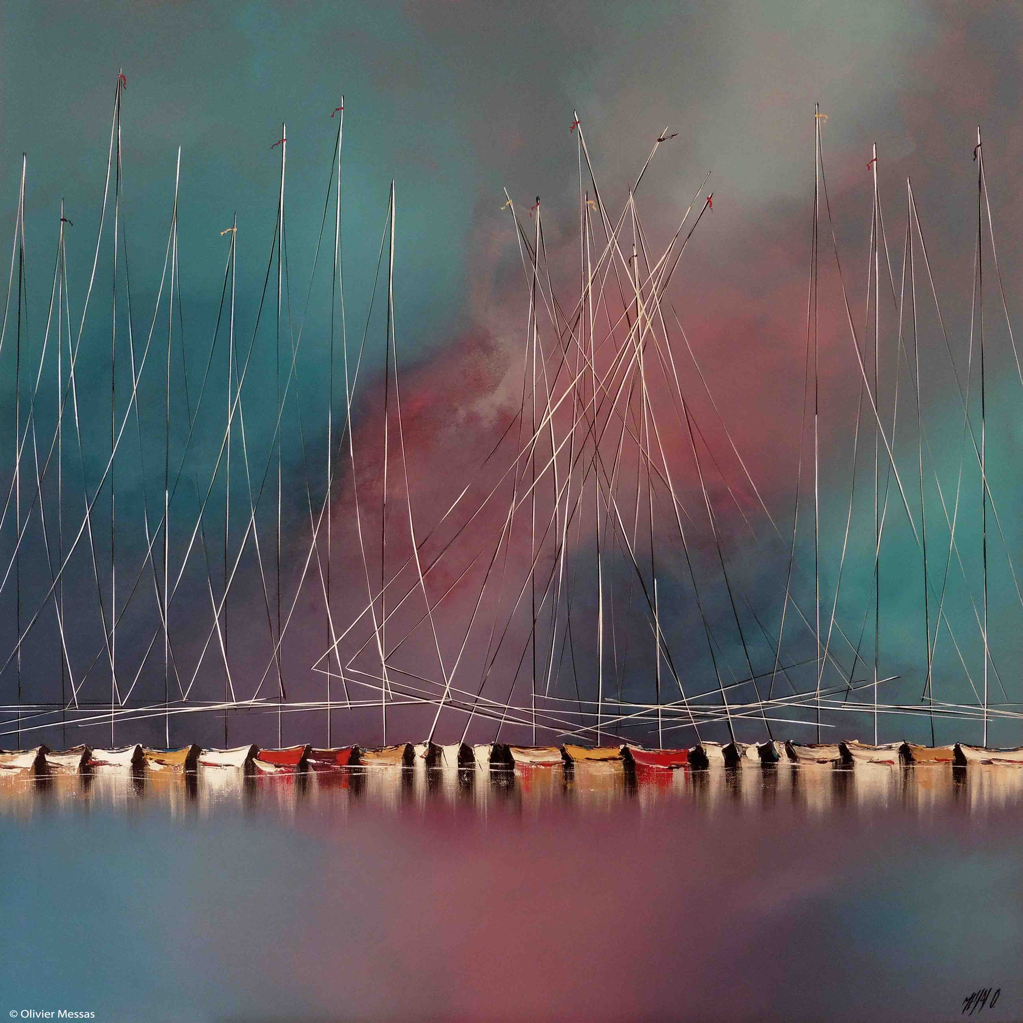 La nuit des voiliers II, 100x100cm