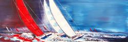 Le grand voilier rouge, 50x150cm
