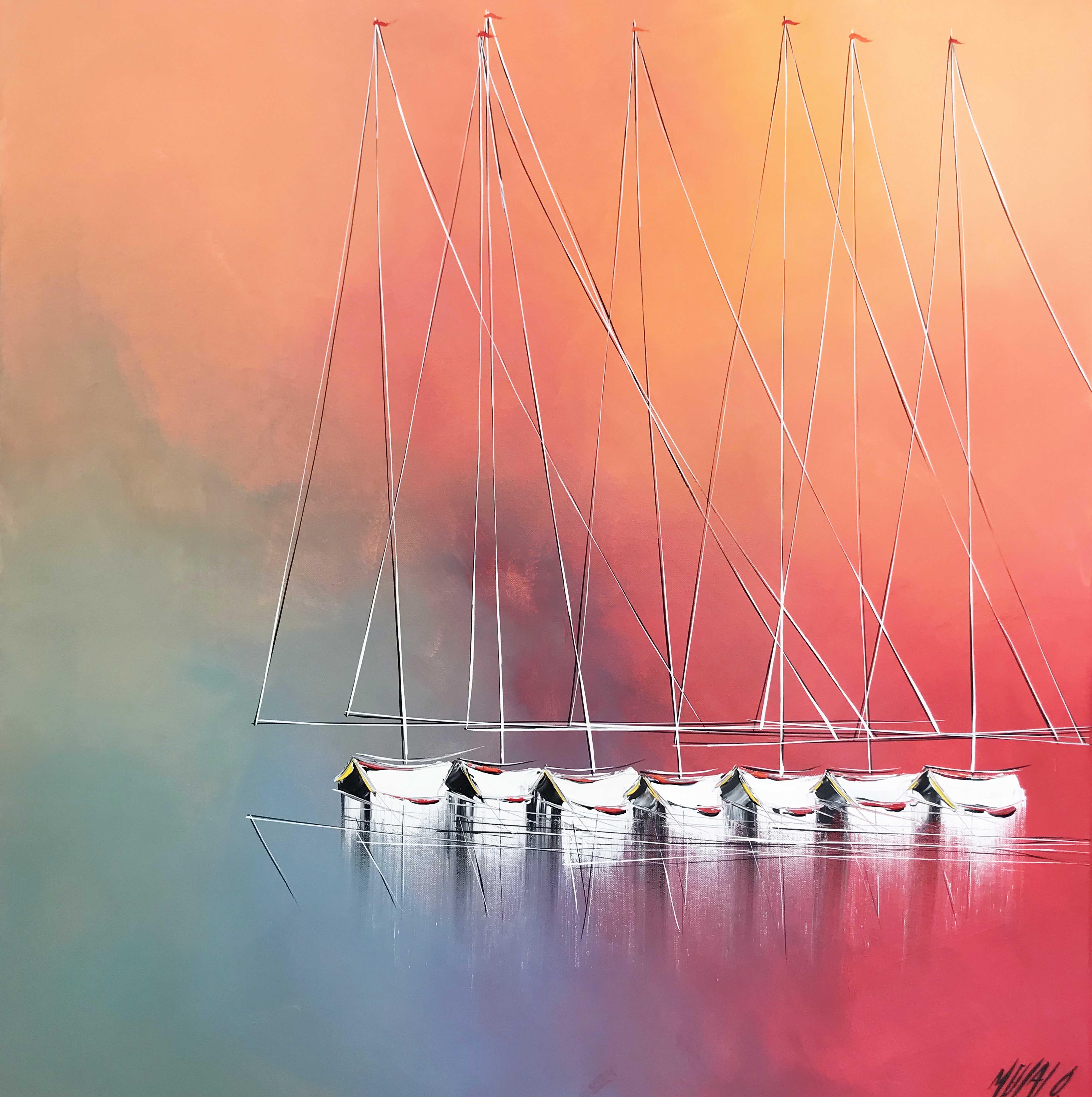 Bonheur en mer... | 80x80cm