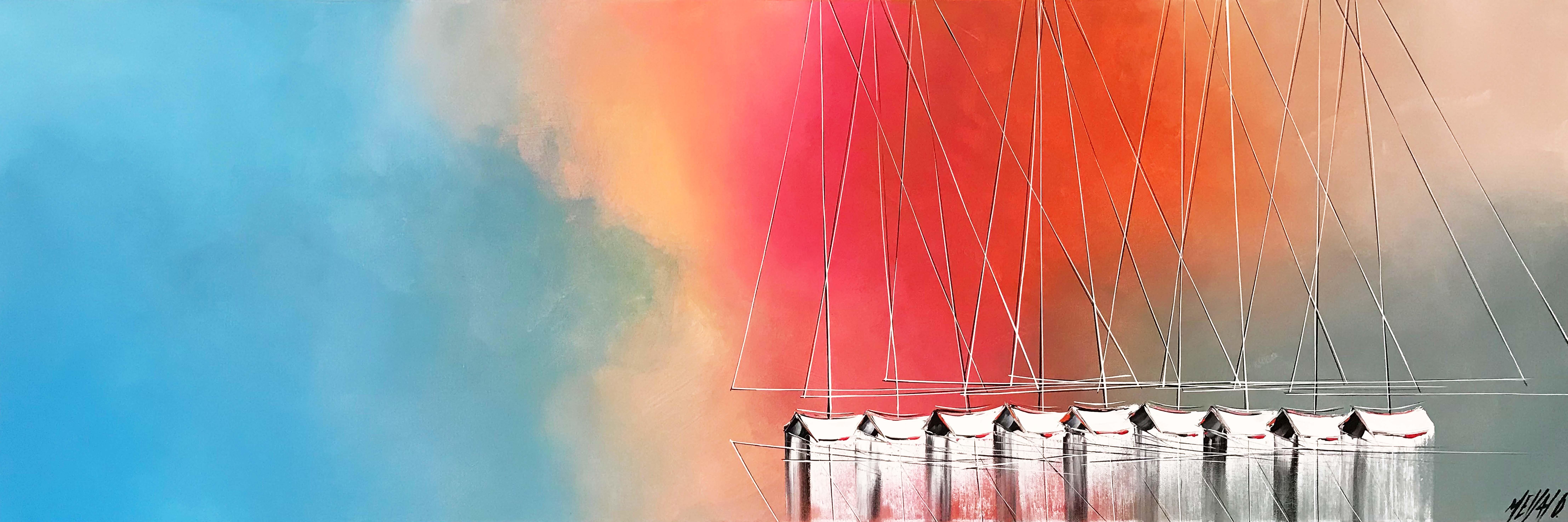 Les voiliers de l'aurore... | 50x150cm