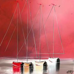 Horizon rouge..., 50x50cm