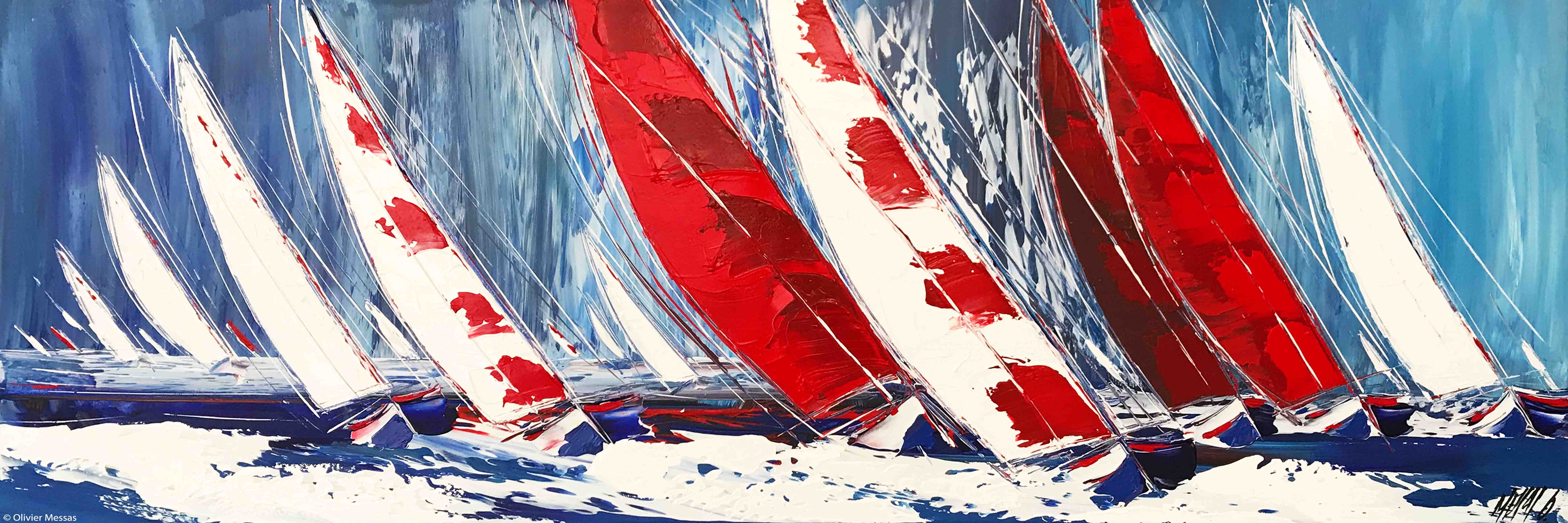 Les voiles rouges III, 40x120cm