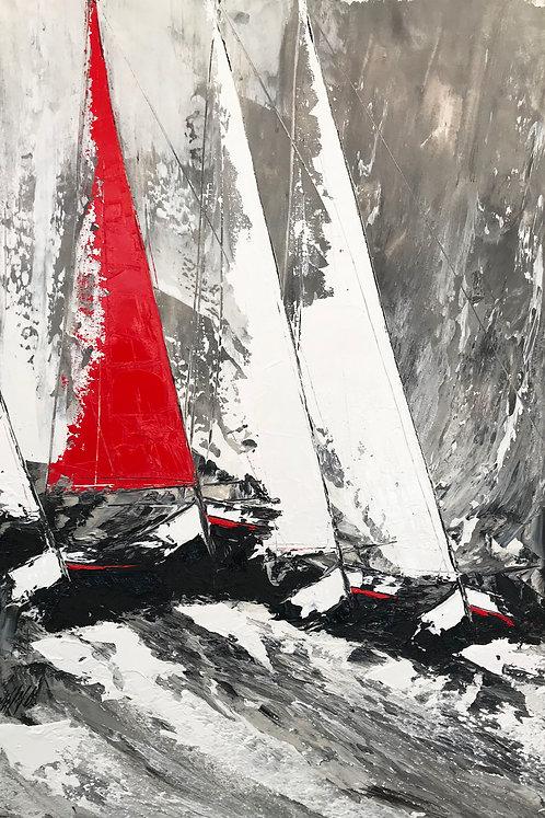 La grande voile rouge... | 120x80cm