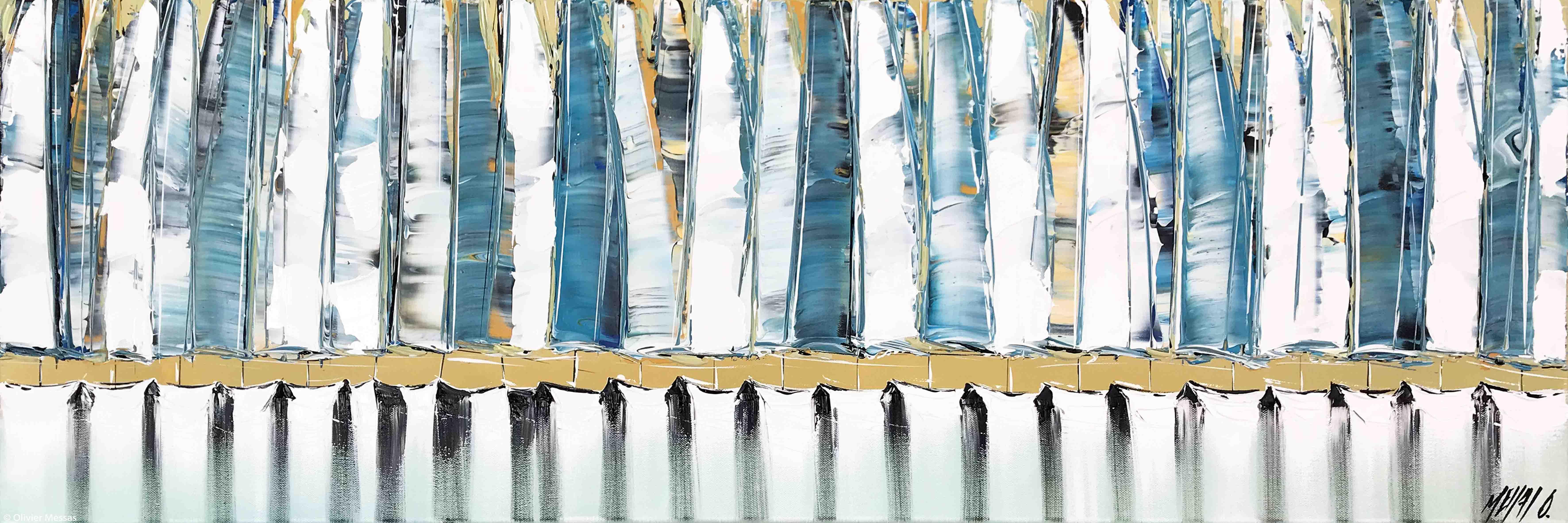 Les voiles bleues..., 40x120cm
