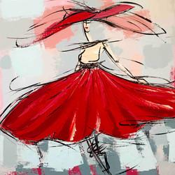 La fille à la robe rouge...   80x80cm