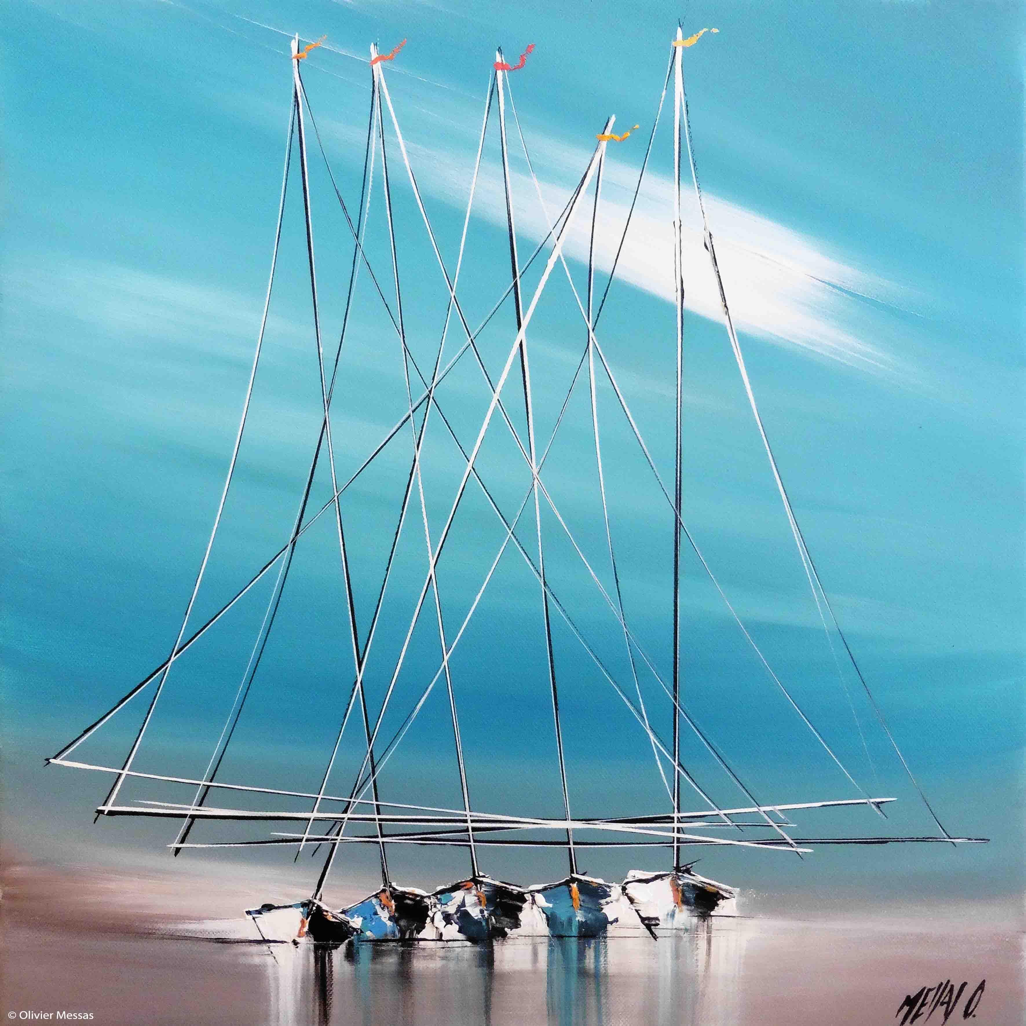 Histoire de voiliers II, 40x40cm