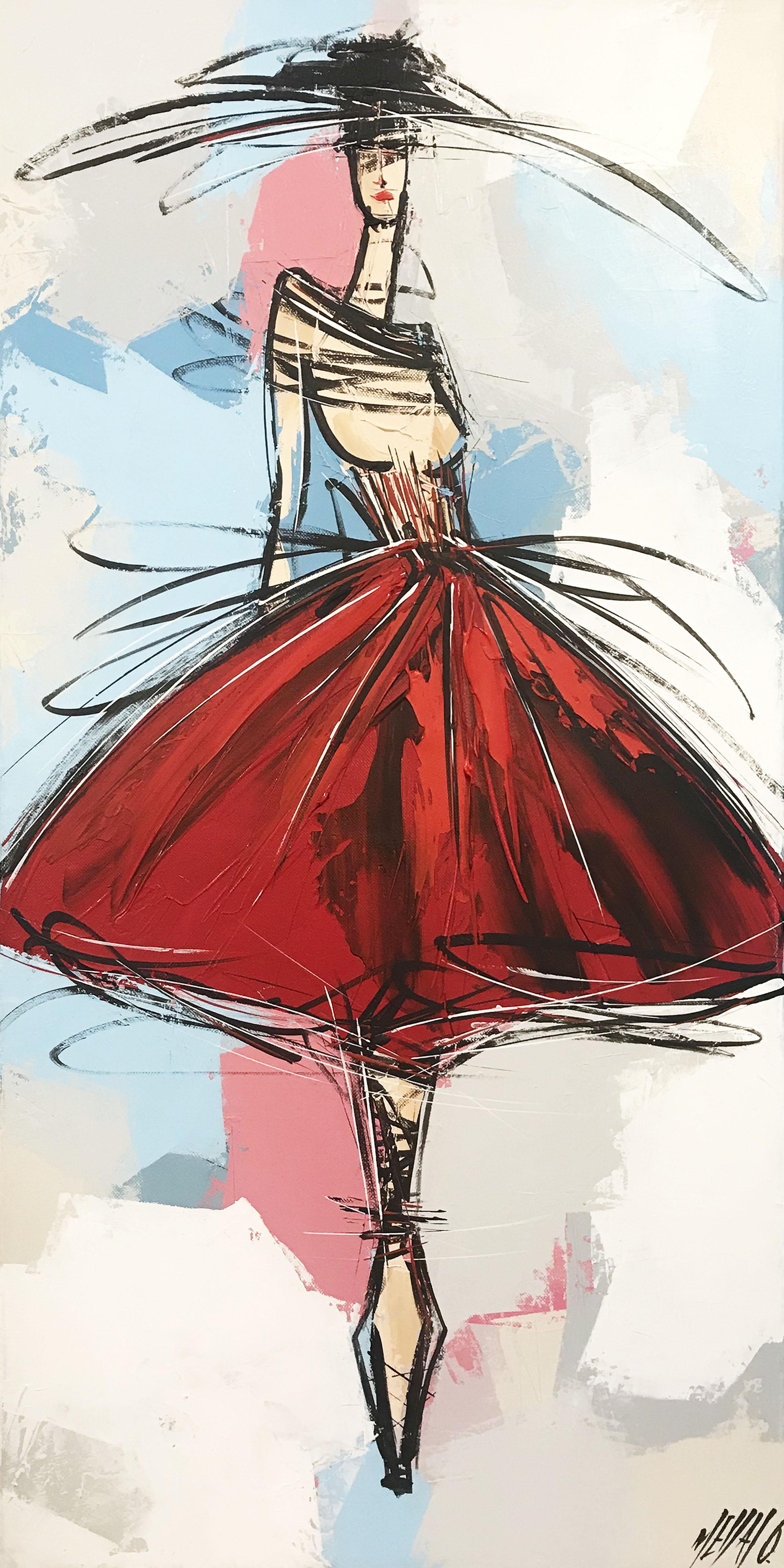 La fille à la robe rouge... | 80x40cm
