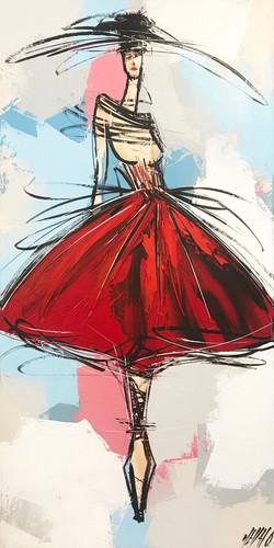 La fille à la robe rouge...   80x40cm