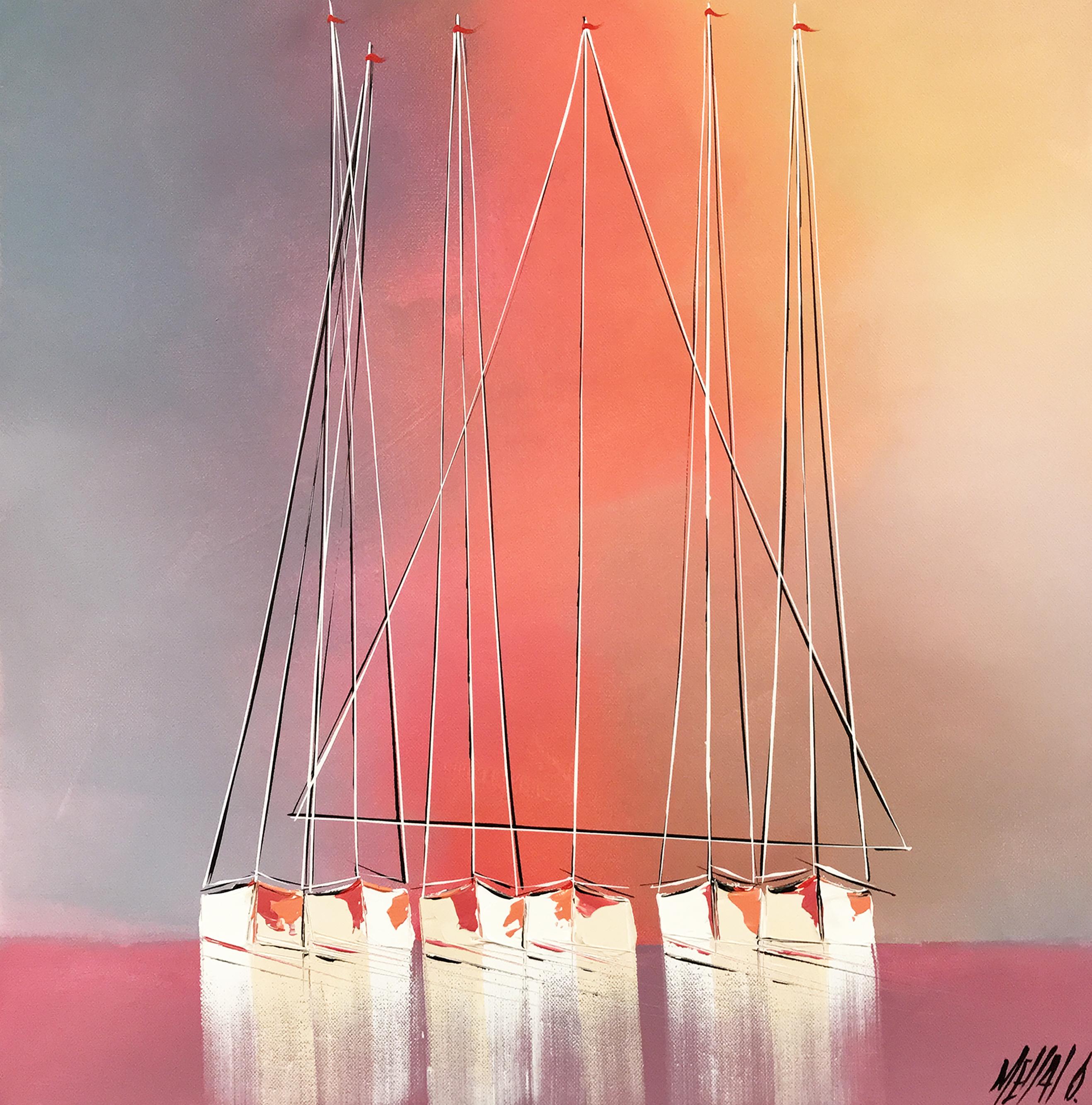 Les voiliers du crépuscule... | 50x50cm