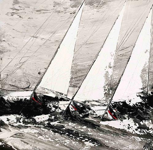 Au rythme du vent et des vagues... | 100x100cm