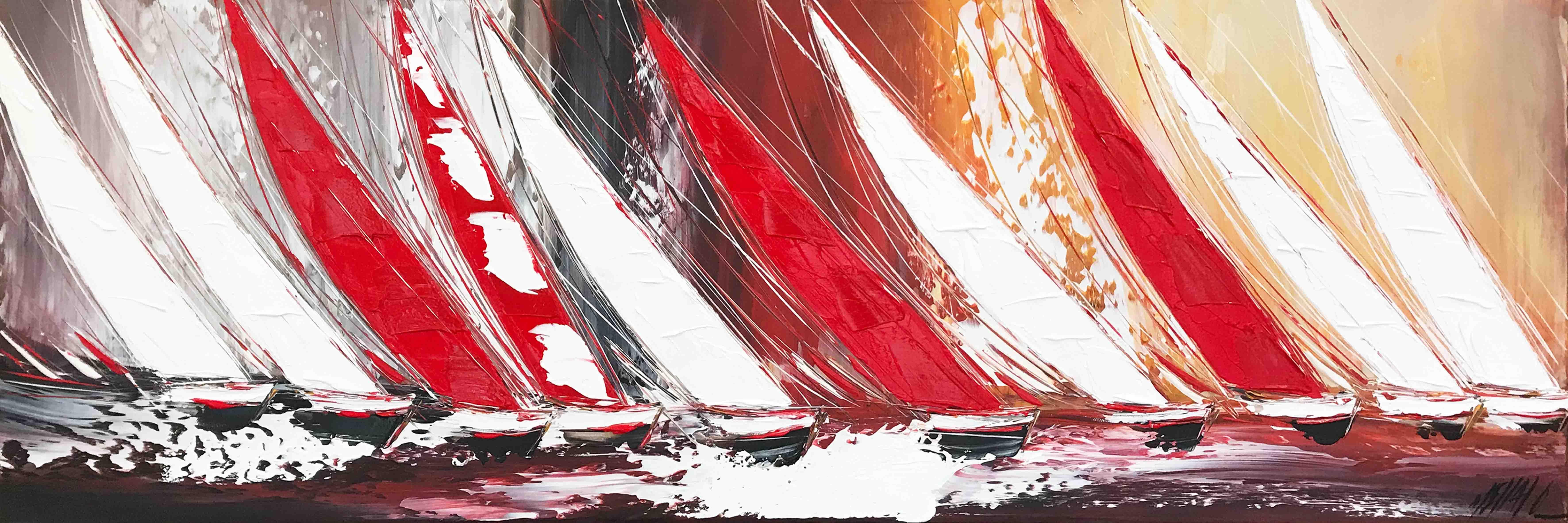 Les voiles rouges...   40x120cm