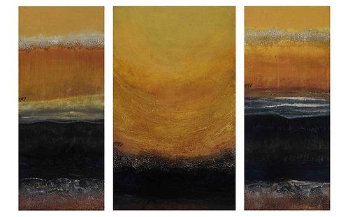 Soleil et méditation.. | 100x150cm (triptyque)