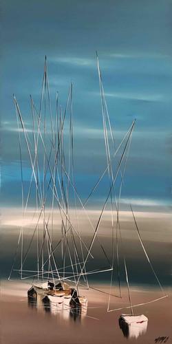 A marée basse..., 100x50cm