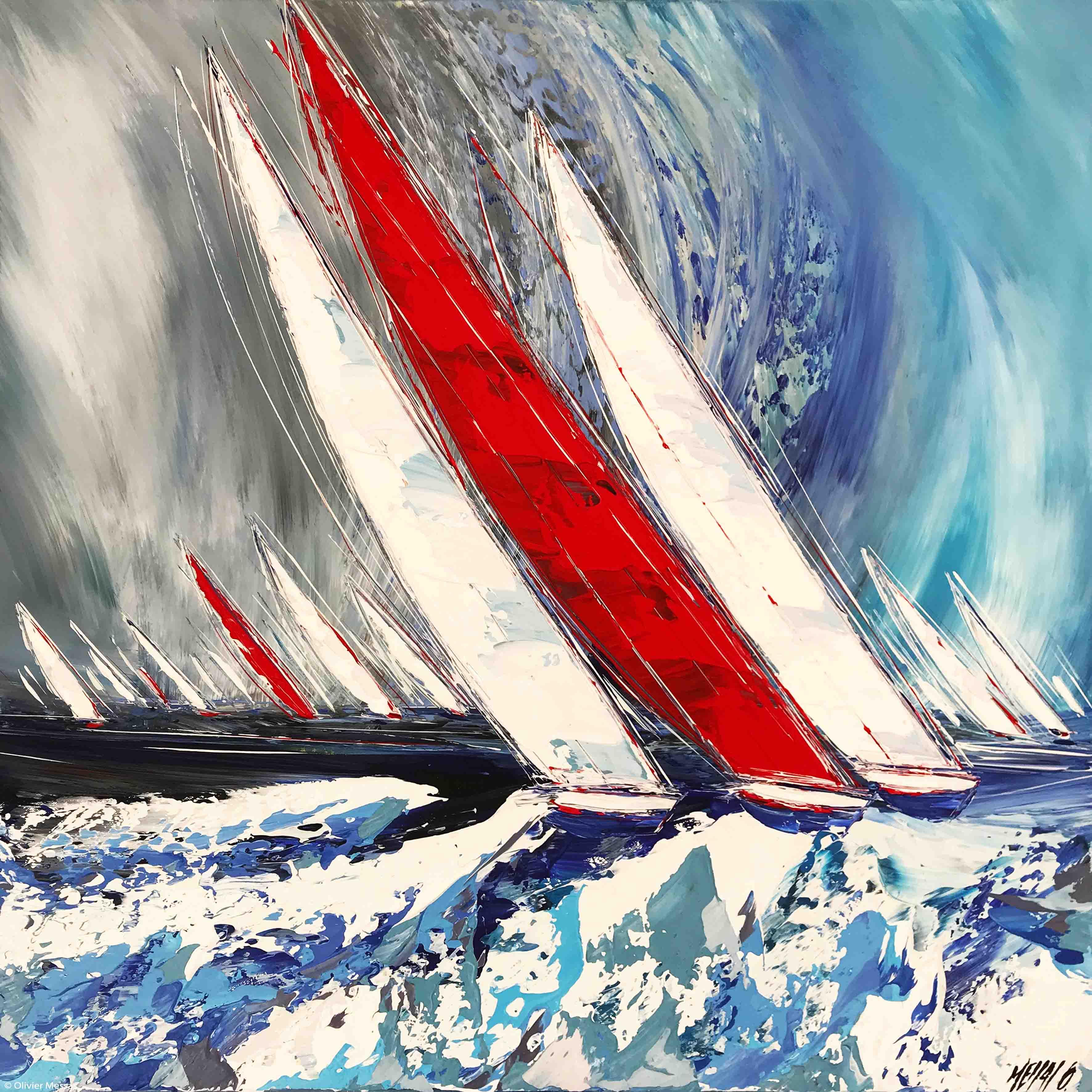 Les voiles rouges..., 80x80cm